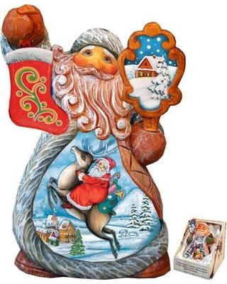 The Holiday Aisle® Fifield Mini Tale Illustrated Santa on Reindeer Figurine Derevo Collection UIMZ7559