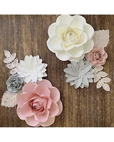 BUBBAPAINT. 3D Paper Flower Decorations for Wall. Backdrop for Décor. Giant Size Pre-Assembled Flower. Girld Nursery Wall Decor. Party Decor Wendding, Bridal Shower, Rooms. Pink, White and Grey