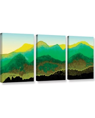 "ArtWall 'Pyrenees In Spring' by Linda Parker 3 Piece Painting Print on Wrapped Canvas Set JJM8253 Size: 18"" H x 36"" W x 2"" D"