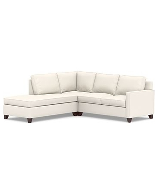 Cameron Square Arm Upholstered Right 3-Piece Bumper Sectional, Polyester Wrapped Cushions, Performance Chateau Basketweave Ivory