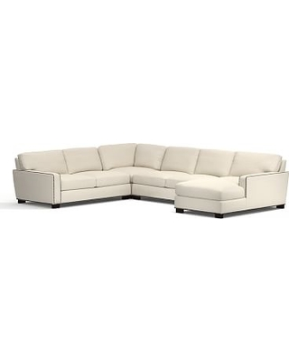 Turner Square Arm Upholstered Left Arm 4-Piece Chaise Sectional with Bronze Nailheads, Down Blend Wrapped Cushions, Textured Basketweave Flax