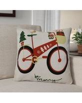 """The Holiday Aisle Decorative Holiday Geometric Print Square Throw Pillow THLA6901 Size: 18"""" H x 18"""" W, Color: Red"""