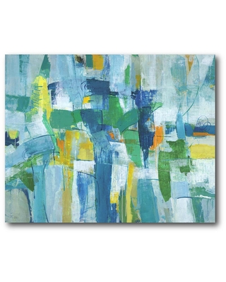 Courtside Market Blue & Green Abstract I Gallery-Wrapped Canvas Wall Art 24 in. x 20 in., Multi Color
