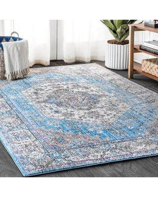 """World Menagerie Stilwell Power Loom Turquoise Rug X112936254 Rug Size: Rectangle 5'3"""" x 7'7"""""""