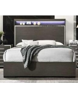 """Aiden AD400-K 79.5"""" King Size Panel Bed with LED Lights on Headboard Mirrored Trim and 4 Slats in"""