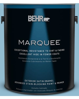 BEHR MARQUEE 1 gal. #S490-4 Yacht Blue Satin Enamel Exterior Paint and Primer in One