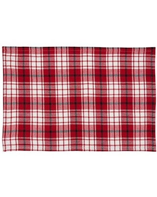 """SARO LIFESTYLE Leonidas Collection Small Plaid Table Placemats (Set of 4), 14""""x20"""", Red"""