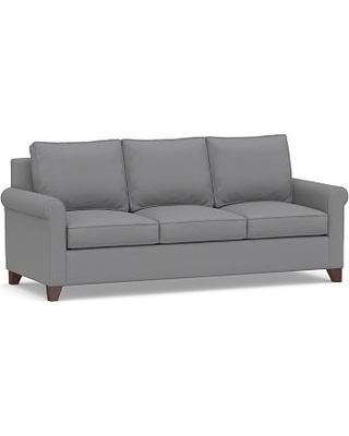 Cameron Roll Arm Upholstered Queen Sleeper Sofa, Polyester Wrapped Cushions, Textured Twill Light Gray