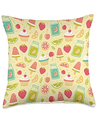 Summer Vibes Patterns Cute Summer Beach Sweets Happy Food Pattern Design Yellow Throw Pillow, 18x18, Multicolor