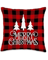Wild Honey Collections Merry Christmas Red Black Buffalo Plaid Throw Pillow, 16x16, Multicolor