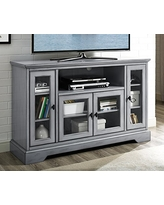 """WE Furniture 52"""" Wood Highboy Style Tall TV Stand - Antique Grey"""