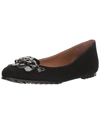 French Sole FS/NY Women's Sunshine Ballet Flat, Black Suede, 9.5 M US