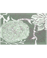 """e by design Flowers and Fronds Floral Print Throw Blanket HFN192 Size: 60"""" L x 50"""" W, Color: Herb Green (Green/Purple)"""