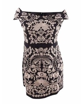 Foxiedox Women's Embroidered Off-The-Shoulder Dress (XL, Black/Blush)
