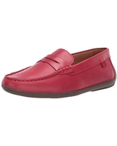 MARC JOSEPH NEW YORK Unisex Leather Made in Brazil Luxury Fashion Slip on Loafer with Penny Detail, red Nappa/Black Sole, 10.5 M US Little Kid