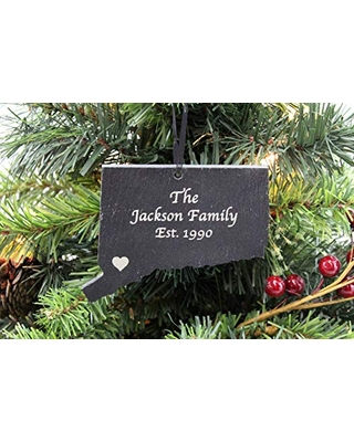 Custom Connecticut Black Slate Christmas Ornament- Personalized with Laser Engraving