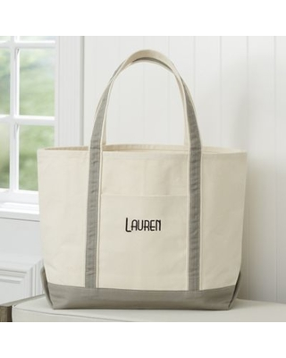 The Deluxe Weekender Embroidered Tote in Grey
