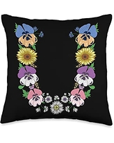 Initial Monogram Floral Alphabet Tees by Alice Ron U Shirt Cute Initial Monogram Floral Alphabet Letters Throw Pillow, 16x16, Multicolor