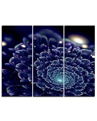 Design Art Dark Blue Abstract Fractal Flower - 3 Piece Graphic Art on Wrapped Canvas Set PT8926-3P