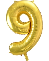 Light Gold Foil Balloon Number 9 - Spritz