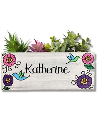 Hummingbird Garden Box, Personalized Wood Succulent Planter, Gift for Mom, Grandmother