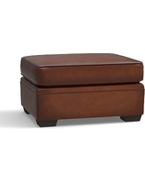 Pearce Leather Ottoman, Down Blend Wrapped Cushions, Leather Burnished Saddle