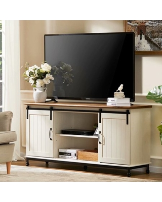 "WAMPAT Farmhouse TV Stand Sliding Barn Door Entertainment Center for TV up to 65"",Wood Console Table Storage Cabinet Rustic White"