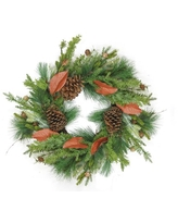 """26"""" Decorative Mixed Pine with Red Leaves and Pine Cones Artificial Christmas Wreath - Unlit"""