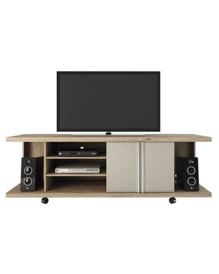 """Carnegie Collection 14555 71"""" TV Stand with 7 Shelves Wheels and 90 Open Door Style in Nature and"""