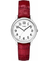 Timex Women's Easy Reader Leather Watch, Size: Small, Red
