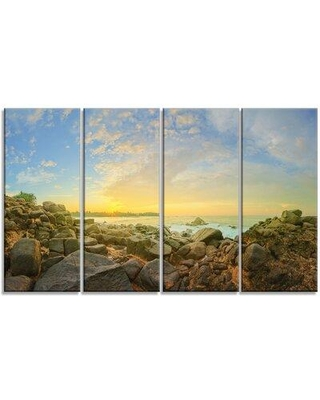 Design Art 'Rocky Untouched Romantic Seashore' 4 Piece Photographic Print on Wrapped Canvas Set PT9972-271