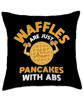 VepaDesigns Fitness Cloth Workout Lover Gifts Waffle Pancake ABS Workout Humor Funny Fitness Lover Gift Throw Pillow, 18x18, Multicolor