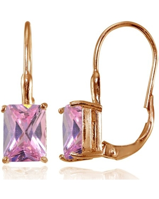 Light Pink CZ Rose Gold Flashed Sterling Silver Emerald-Cut Leverback Earrings
