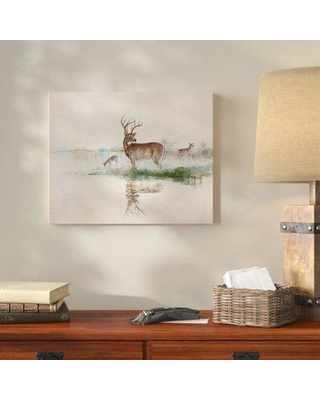 """Loon Peak 'Misty Deer' Oil Painting Print on Wrapped Canvas LNPE5742 Size: 30"""" H x 40"""" W"""