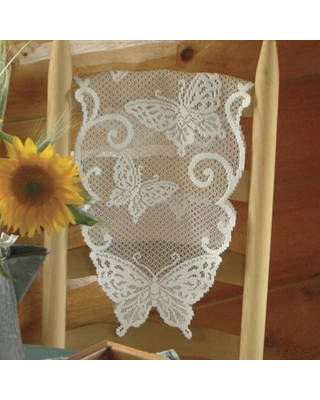 "Butterflies Table Runner Heritage Lace Size: 54"" W x 12"" L"