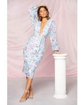 Womens Boohoo Occasion Sequin Puff Sleeve Midi Dress - Blue - 4