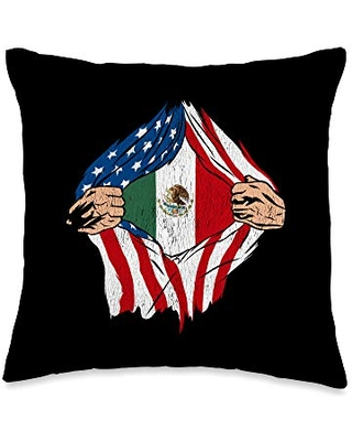 Mexican American Flag Design Flag Mexican Roots American Grown Throw Pillow, 16x16, Multicolor