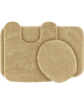 Garland 3 Piece Traditional Washable Nylon Bath Rug Set - Linen