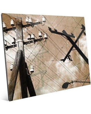 """Click Wall Art 'Urban Power Lines' Photographic Print on Glass in Tan COM0000161GLS08X10XXX Size: 8"""" H x 10"""" W x 1"""" D"""