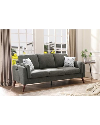 Winston Collection 89605-S Linen Sofa Couch with USB Charger and Tablet Pocket in Gray