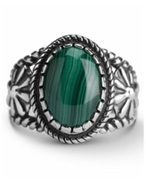 American West Malachite or Orange Spiny Oyster Bezel Set Ring in Sterling Silver - Malachite