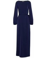 Layered Satin And Lace Maxi Dress Navy - Blue - Mikael Aghal Dresses