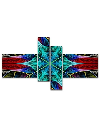 'Glowing Fractal Flower Layers' Graphic Art Print Multi-Piece Image on Canvas