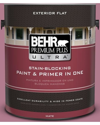 BEHR ULTRA 1 gal. #100D-4 Degas Pink Flat Exterior Paint and Primer in One