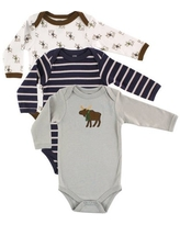 Hudson Baby Boy Long Sleeve Cotton Bodysuits 3-Pack