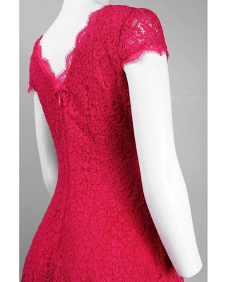 Adrianna Papell - Cap Sleeve Full Lace Flared Cocktail Dress 41885050