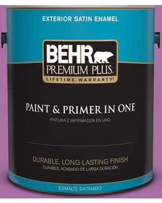 BEHR Premium Plus 1 gal. #670B-6 Orchid Kiss Satin Enamel Exterior Paint and Primer in One