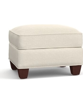 Irving Upholstered Storage Ottoman, Polyester Wrapped Cushions, Textured BasketWeave Flax