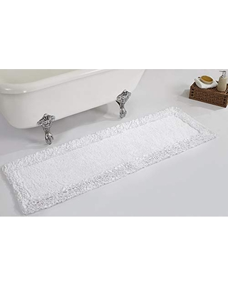 """Better Trends Shaggy Border Collection is Ultra Soft, Plush and Absorbent Tufted Bath Mat Rug 100% Cotton in Vibrant Colors, 20"""" x 60"""" Rectangle, White"""