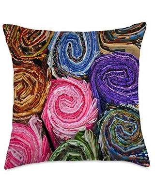vcvQuilts Multi Bolts Pattern-Colorful Quilting Throw Pillow, 18x18, Multicolor
